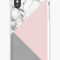 'Pink, Marble and Cement' iPhone Case/Skin by lorihinner