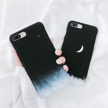 Simple Moon Star Sky Couple Black Hard Case Cover For iPhone X/8/7/7 plus/6 new