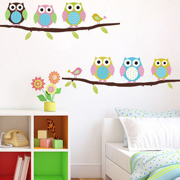 Owls on tree wall stickers for kids rooms decorative de wall decal