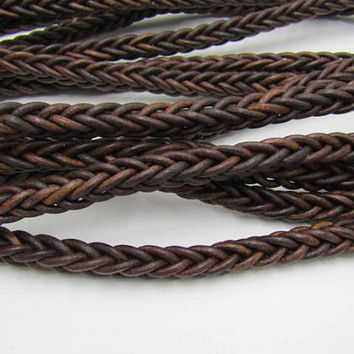 Leather braided square cord.... 10 yards of Antique brown,  1076
