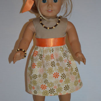 "American Girl Doll Clothes, 18"" Doll Clothes-Floral Dress w/ matching Hair Ribbon"