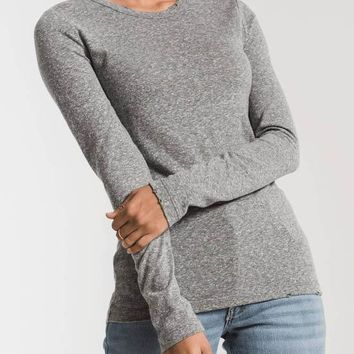 Z Supply - The Tribeland Heather Grey Long Sleeve Crew Top