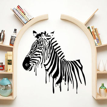 Wall Decals Zebra Animals Jungle Safari African Childrens Decor Kids Vinyl Sticker Wall Decal Nursery Bedroom Murals Playroom Art SV6060