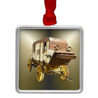 1860s Stagecoach - Denver Gold Rush Metal Ornament