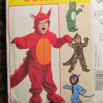 SALE Uncut McCall's Sewing pattern, 6185! 1-2-3-4-5-6 Toddler/Boys/Kids/ Frog/Dragon/Where the Wild things Go/Lizard/Dinosaur Costumes