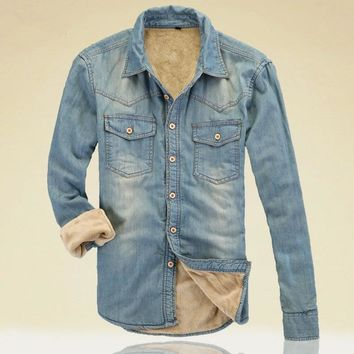 Autumn Slim Warm Thick Lining Winter Denim Shirts Men