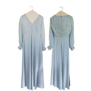 Bohemian Maxi Dress Boho Maxi Dress 70s Boho Dress Bohemian Prom Dress Boho Prom Dress Powder Blue Dress Blue Maxi Dress 70s Maxi Dress Long