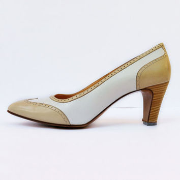 Celine Spectator Pumps, White and Cream, 1960's Vintage High Heel Shoes, Size 6