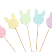 Pastel Easter Bunny Cupcake Toppers - Easter Party Decorations - Easter Decor