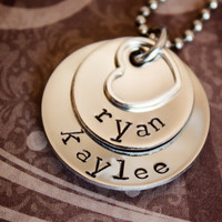 Featured on dandeliondeals.com - Hand Stamped Mommy Necklace - 2 Layer Stainless Steel Pendant - Sterling Silver Heart - Personalized