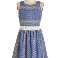 ModCloth Boho Sleeveless A-line Sound of Mosaic Dress