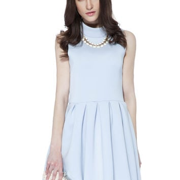 Solid Color Sleeveless Flouncing Dress