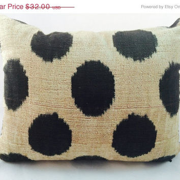 Uzbek silk velvet black polka dots on cream accent pillow with insert