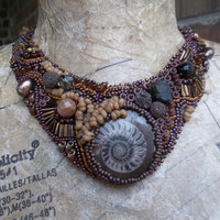 Ammonite Bead Embroidered Statement Necklace