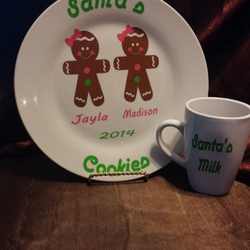 Plate and Cup for Santa, Gingerbread girls,Personalized Christmas Santa Claus cookie plate with milk glass