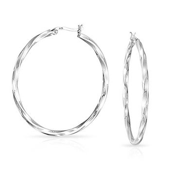 Wire Cable Twist Large Hoop Earrings 925 Sterling Silver 1 8 Inch Dia