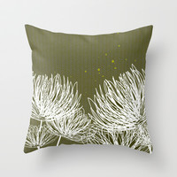 Flowers - Olive Throw Pillow by friztin