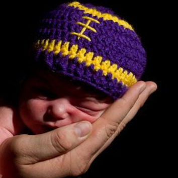 Lsu Football Hat beanie purple / gold Size by BitofWhimsyCrochet