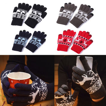Christmas Couple Knit Outdoors Winter Gloves [8491857997]