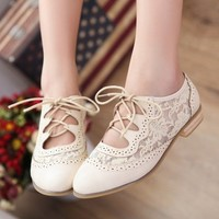 White Lace Cutout Oxford from Seek Vintage