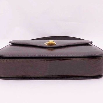 Auth GUCCI Vintage Shoulder Bag Dark Brown/Goldtone Lizardskin Leather - e31900