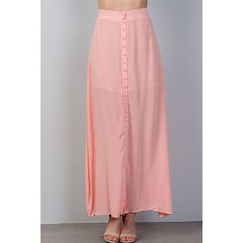 Ladies fashion  maxi length front split front button closure partially lined elastic back detail skirt