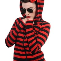 Red Stripe Cat Ear Hoodie | Banned Apparel
