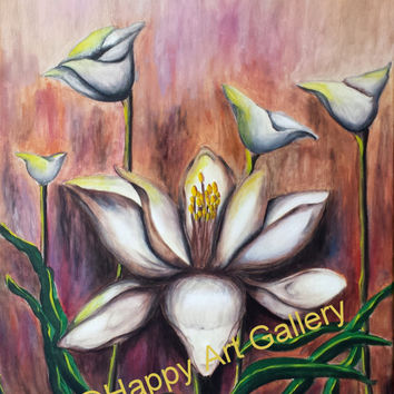 """spring Home decor, spring home & living, Original Abstract Still Life Painting White Flower Wall Decor Canvas Art Brown Green Yellow 16""""X20"""""""