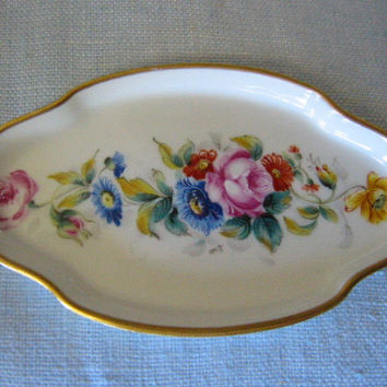 Limoges France Miniature Porcelain Tray Gold Rim