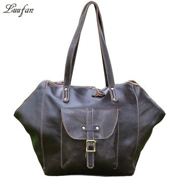 Genuine Cowhide leather men Handbags travel bags Soft Cow Leather big capacity women travel duffel unisex weekend luggage bags