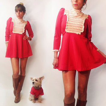 Vintage 1960's Mod Red Babydoll Mini Dolly Lace Dress  || Size XS S Extra Small Size 0 Size 2 Size 4 Empire Waist