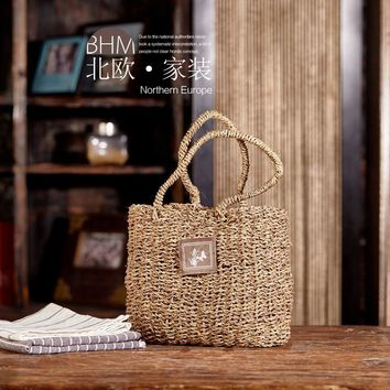 Storage Basket Willow Wicker with Linen Picnic Shopping Hamper with Handle Handmade Rattan Steamed Cassette Cover 21cm x 22.5cm