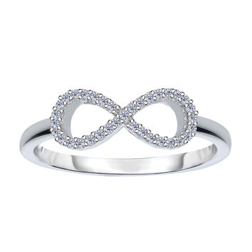 14K White Gold Diamond Infinity Ring - 0.10Ct