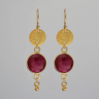 Faceted round Natural Dyed Ruby Vermeil Gold bezel set disk Earrings - July Birthstone
