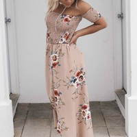 Breezy Kisses Taupe Floral Maxi Dress