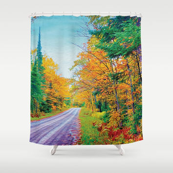 Back Road in the Fall Shower Curtain by Heidi Haakenson