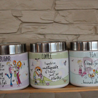 Fantastic Set of 3, Ceramic Jars, Ceramic Containers, Born To Shop, Johnson Brothers Pottery, Storage, Coffee box, Sugar Box, Tea Box