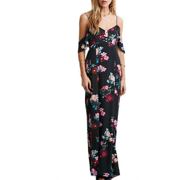 New Women Backless Chiffon Strapless Dress Ruffle Cocktail Party Floral Maxi Long Dresses