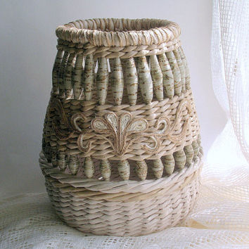 Handmade unusual wicker vase with handmade beads