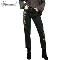 Vintage embroidered flowers jeans women pants denim bottoms 2017 fashion black slim pockets straigh
