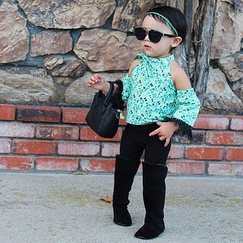 New Fashion green Floral halter Girls Clothing Kids Clothes Fairy strapless temperament Casual black pants