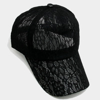 Floral Lace Baseball Cap Hat - Black