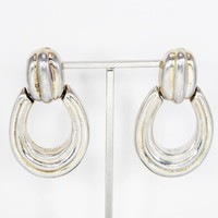 Zina Signed Sterling Silver Door Knocker Earrings, Polished Oval Shape Clipons, Hoop Style Oval Hinged Open Center, Vintage 1970s Jewelry