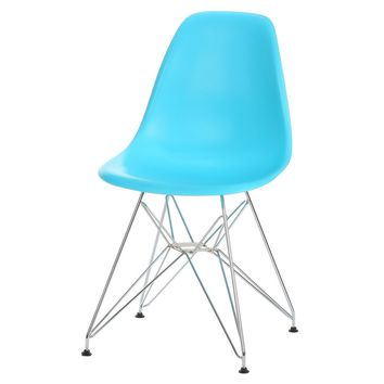 Eames Style Side Chair, Blue with Metal Base