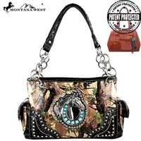 Montana West Camouflage Horsehead & Horseshoe Accented Concealed Carry Handbag