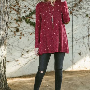 Burgundy Dots Elbow Patch Top