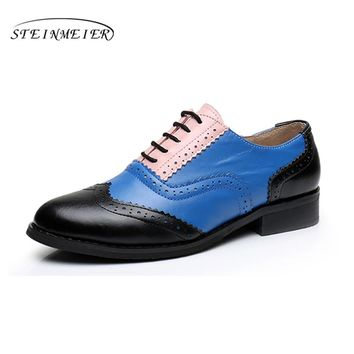 Genuine leather handmade flats shoes big woman US size 11 fur vintage 2017 brown blue red green round toe oxford shoes for women