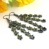 Hematite Star Earrings Long Dangling Dark Gray With Gold Seed Beads