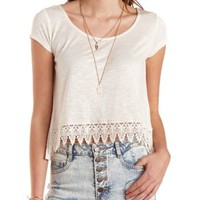 Crochet-Trim Cropped Swing Tee by Charlotte Russe