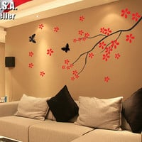 Wall Decor Art Removable Mural Vinyl Decal Sticker Cherry Blossom Branches Tree Butterflies 65